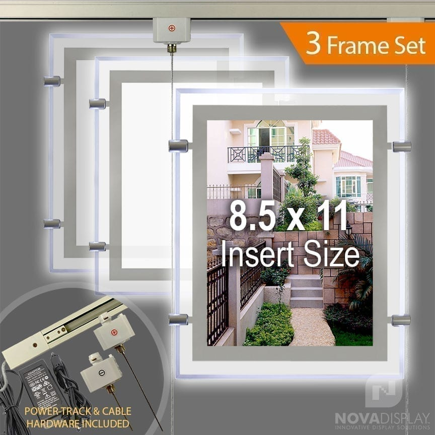 Glow-Edge LED Backlit Window Display with Rail/Track Suspension Set (3 Frames per Set)