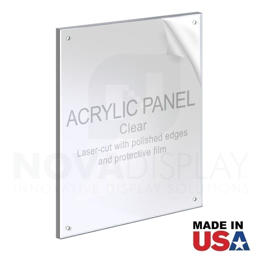 1/4″ Clear Acrylic Panel for M8/M10 Studs – Polished Edges