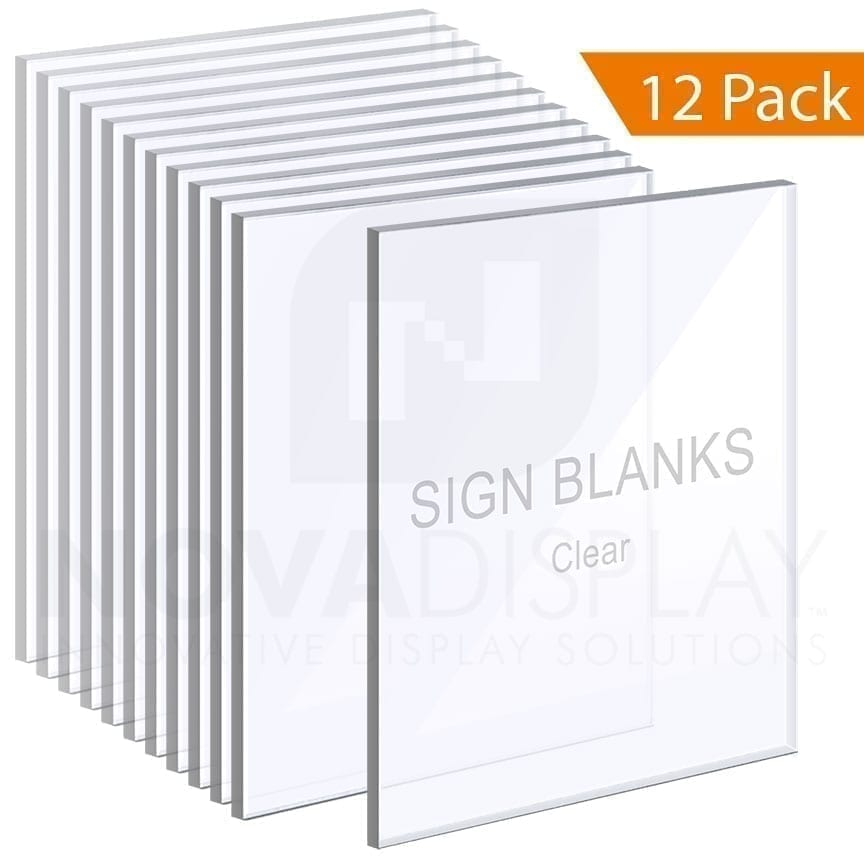 1/4″ Clear Acrylic Sign Blanks without Holes – Polished Edges