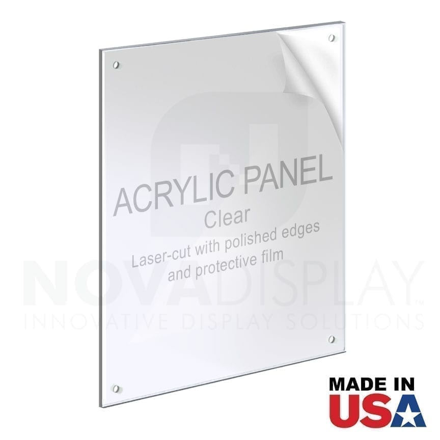 1/8″ Clear Acrylic Panel for M4 Studs – Polished Edges