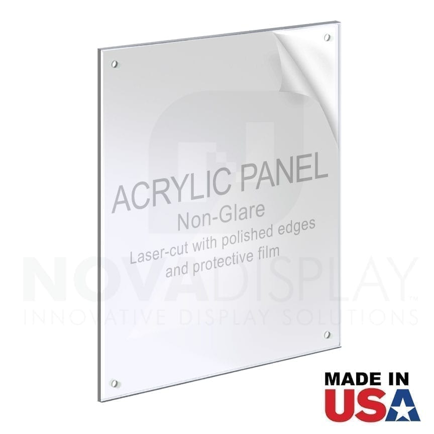 1/8″ Non-Glare Acrylic Panel for M4 Studs – Polished Edges