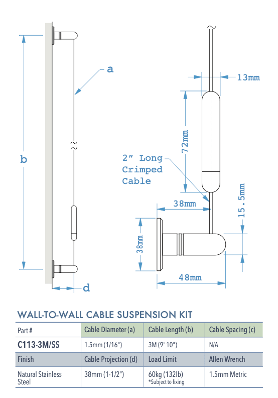 Specifications for C113-3M-SS
