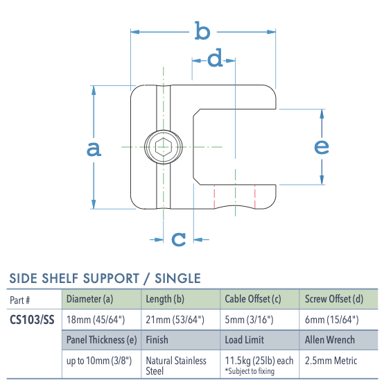 Specifications for CS103-SS